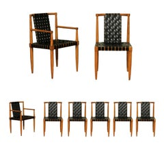 Miraculous Rare Set of 8 Leather Strap Dining Chairs by Tomlinson, circa 1958