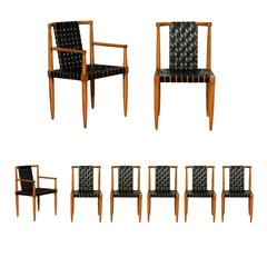 Miraculous Set of Eight Leather Strap Dining Chairs by Tomlinson