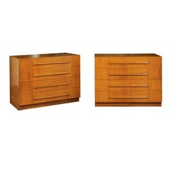 Coveted Pair of Saffron Walnut Chests by Robsjohn-Gibbings for Widdicomb