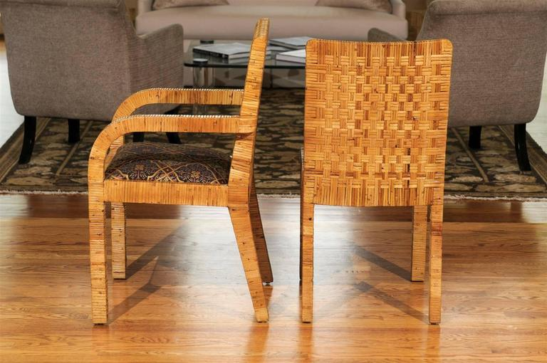 Superb Set Of Six Rattan Wrapped Dining Chairs In The