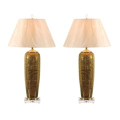 Spectacular Pair of Gold Crocodile Textured Ceramic Vessels as Custom Lamps