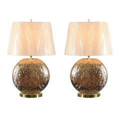 Restored Pair of Vintage Textured Steel and Brass Medallion Lamps