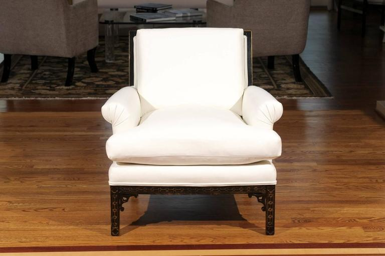 Elegant Pair of Modern Chippendale Loungers in the Style of David Hicks In Excellent Condition For Sale In Atlanta, GA