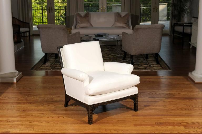 Mid-Century Modern Elegant Pair of Modern Chippendale Loungers in the Style of David Hicks For Sale