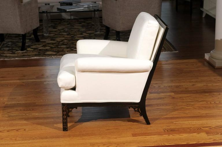 American Elegant Pair of Modern Chippendale Loungers in the Style of David Hicks For Sale