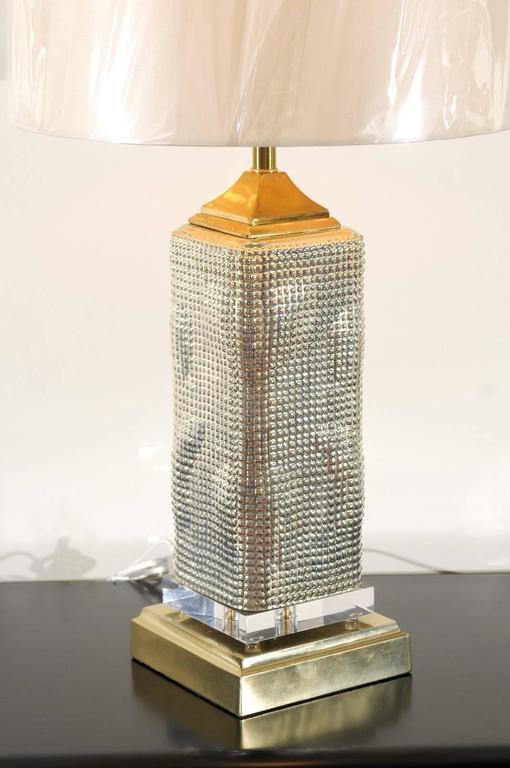 Spectacular Pair of Custom Molten Mercury Glass Skyscraper Lamps In Excellent Condition For Sale In Atlanta, GA