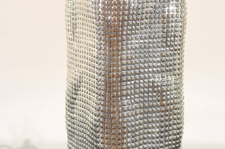 Spectacular Pair of Custom Molten Mercury Glass Skyscraper Lamps For Sale 1