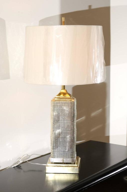 Spectacular Pair of Custom Molten Mercury Glass Skyscraper Lamps For Sale 2