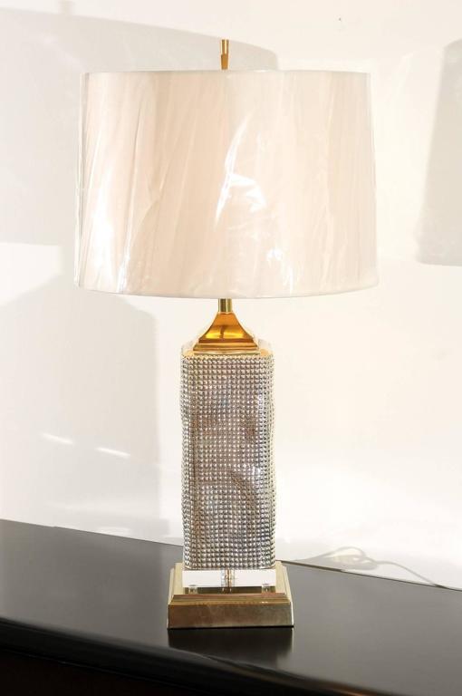 Blown Glass Spectacular Pair of Custom Molten Mercury Glass Skyscraper Lamps For Sale