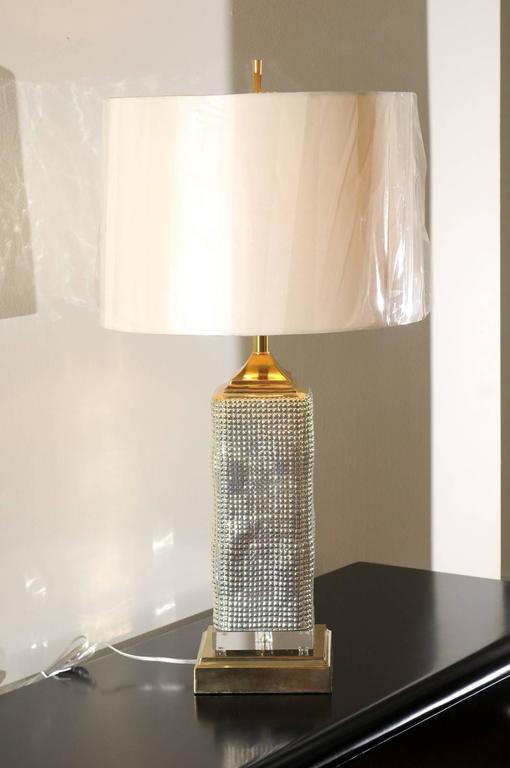 Spectacular Pair of Custom Molten Mercury Glass Skyscraper Lamps For Sale 3