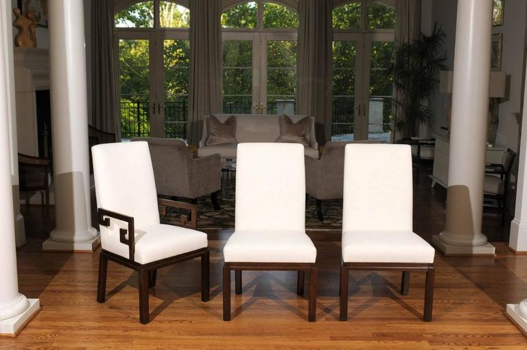 Mid-Century Modern Elegant Restored Set of Ten Parsons Style Dining Chairs by Baker, Circa 1970 For Sale