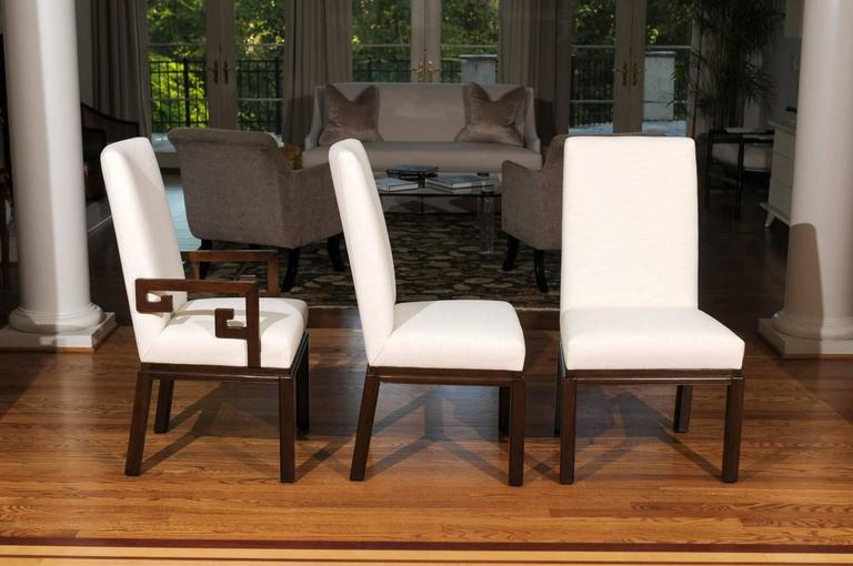 Walnut Elegant Restored Set of Ten Parsons Style Dining Chairs by Baker, Circa 1970 For Sale
