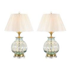 Fabulous Pair of Blown Glass Vessels as Custom Lamps