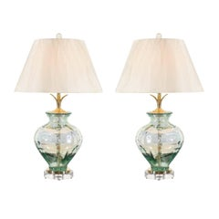 Stellar Pair of Custom Blown Glass, Brass and Lucite Lamps