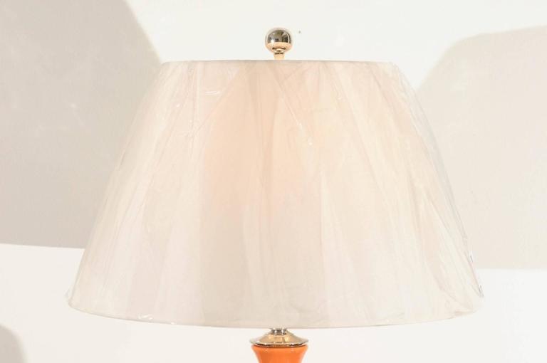 Late 20th Century Vibrant Pair of Modern Tangerine Ceramic Lamps For Sale