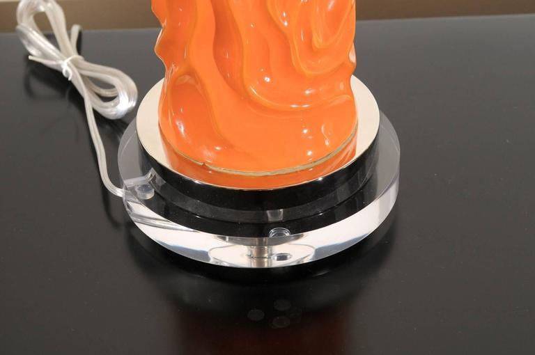 Vibrant Pair of Modern Tangerine Ceramic Lamps For Sale 2