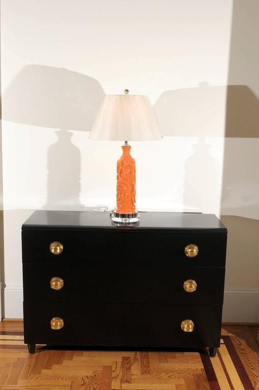 Mid-Century Modern Vibrant Pair of Modern Tangerine Ceramic Lamps For Sale