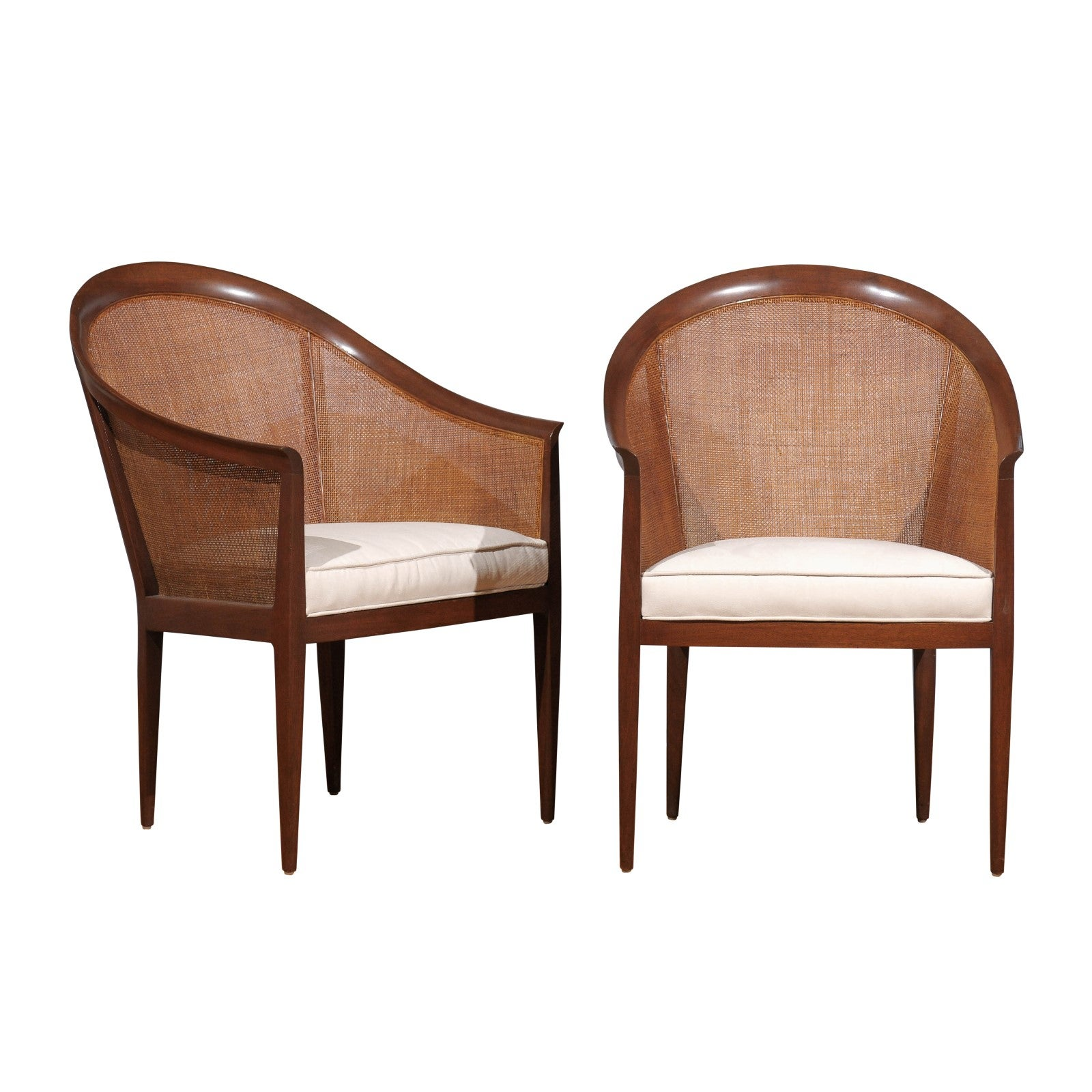 Elegant Restored Pair of Walnut Cane Chairs by Kipp Stewart for Directional