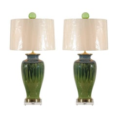 Fantastic Pair of Large-Scale Drip Ceramic Lamps with Blown Glass Finials