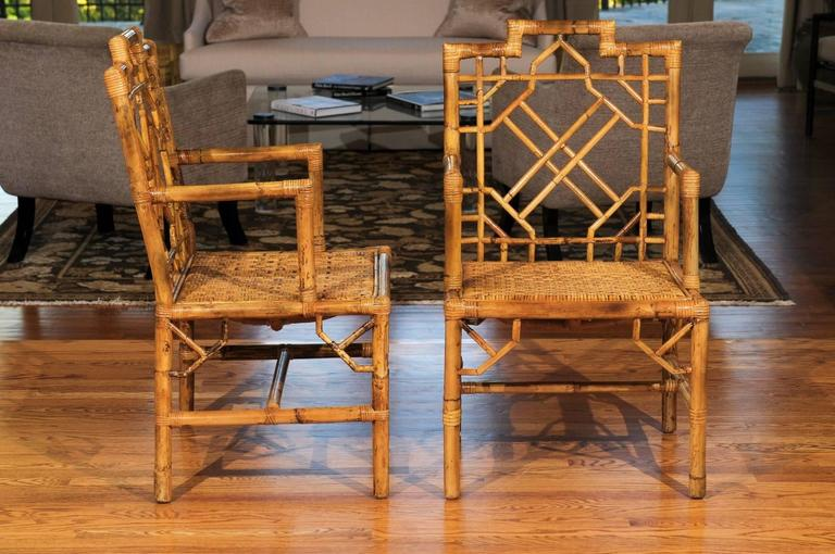 Late 20th Century Beautiful Pair of Vintage Rattan Chippendale Style Armchairs For Sale