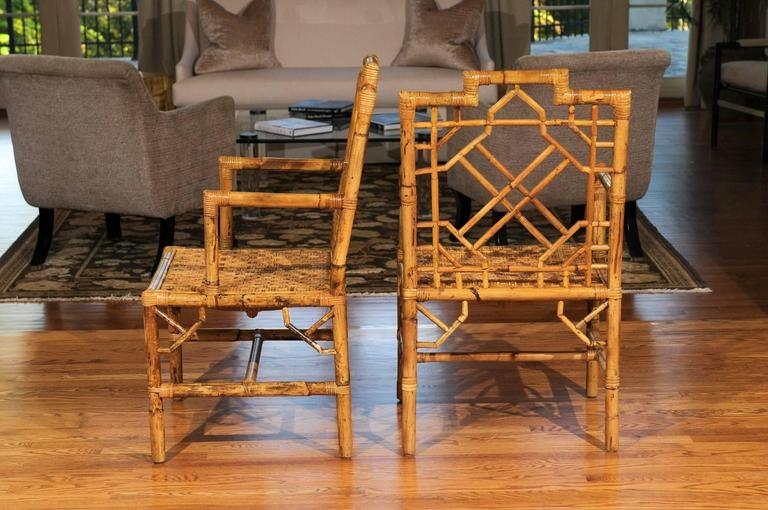 Beautiful Pair of Vintage Rattan Chippendale Style Armchairs For Sale 2