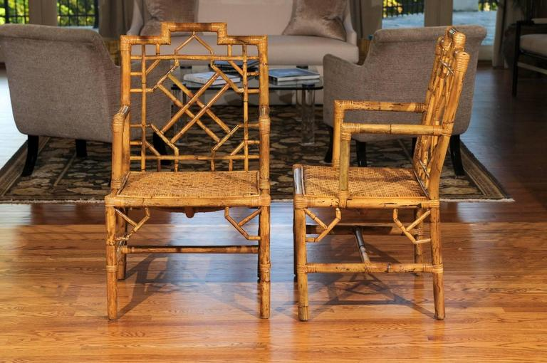 Beautiful Pair of Vintage Rattan Chippendale Style Armchairs For Sale 1