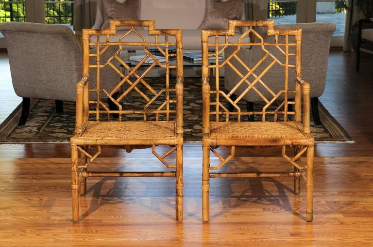 Beautiful Pair of Vintage Rattan Chippendale Style Armchairs For Sale 3
