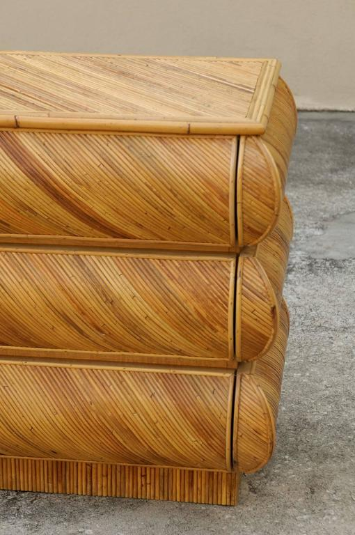 Magnificent Restored Bullnose Nine-Drawer Chest in Bamboo In Excellent Condition For Sale In Atlanta, GA