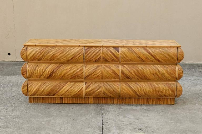 Late 20th Century Magnificent Restored Bullnose Nine-Drawer Chest in Bamboo For Sale