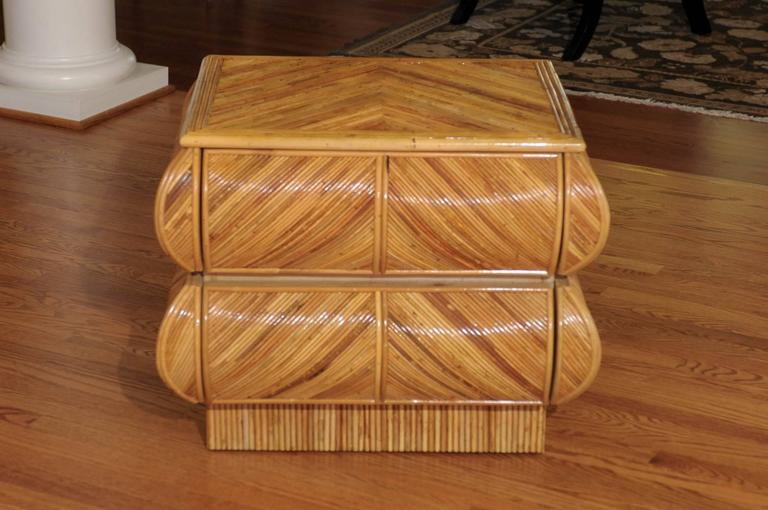 Unknown Stellar Restored Bullnose Two-Drawer Small Chest in Bamboo