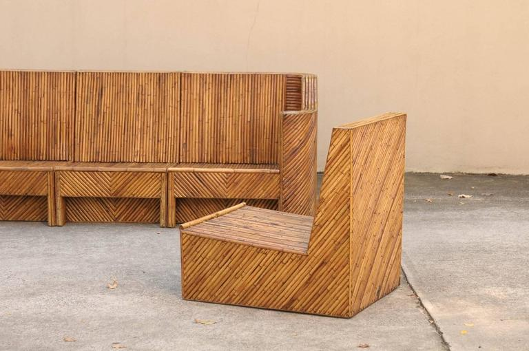 Exceptional Restored Vintage Bamboo Seven Piece Seating