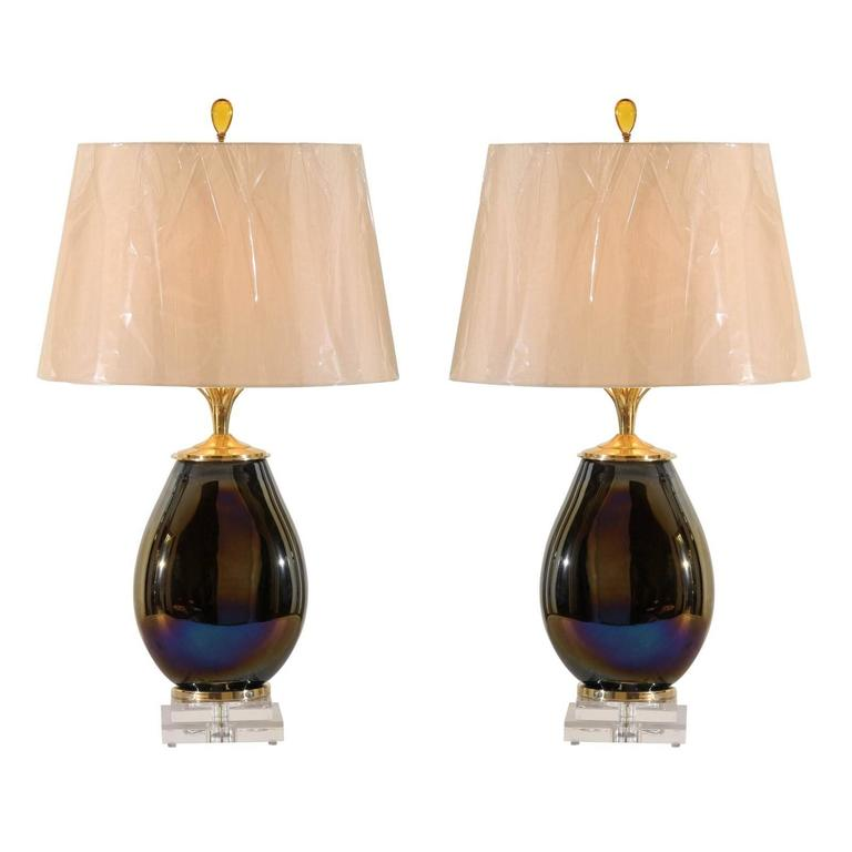 Mesmerizing Pair of Iridescent Blown Glass Lamps with Brass and Lucite Accents