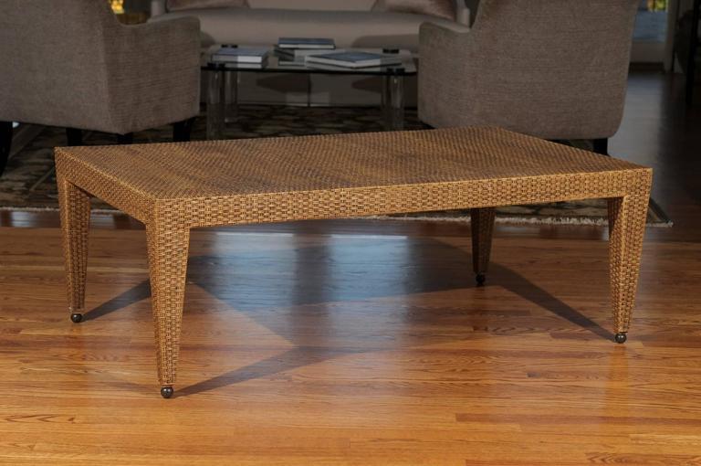Elegant Restored Vintage Raffia Coffee Table For Sale At 1stdibs
