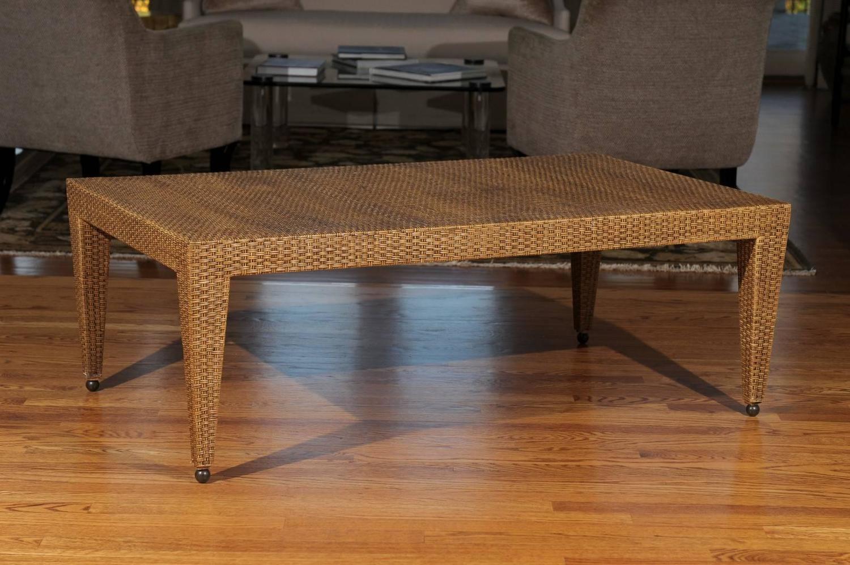 Elegant restored vintage raffia coffee table for sale at for Raffia coffee table