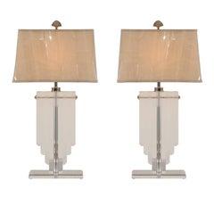 Elegant Restored Pair of Vintage Lucite Shield Form Lamps