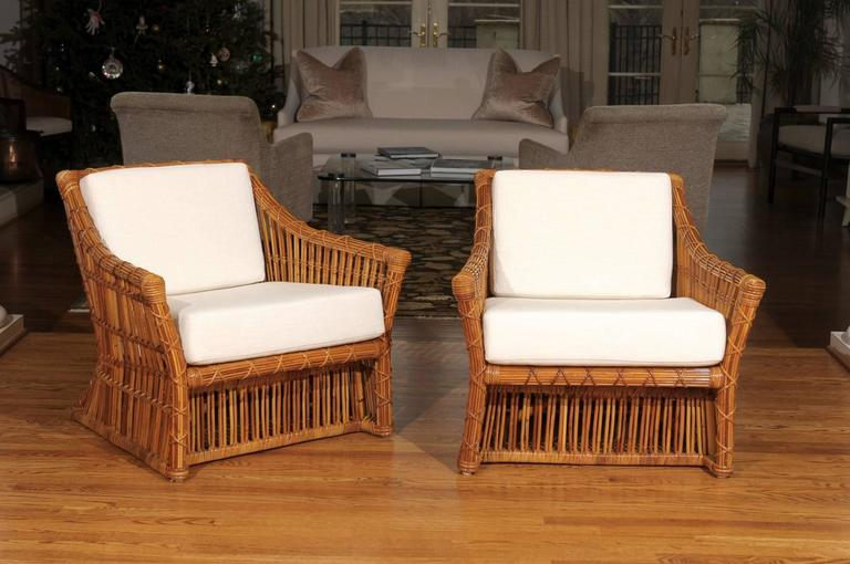 An Absolutely Stunning Pair Of Vintage Club Chairs By McGuire, Circa 1980.  Examples From