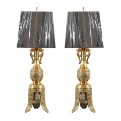 Majestic Pair of Mid-Century Brass Lamps with Spectacular Helmet Style Base