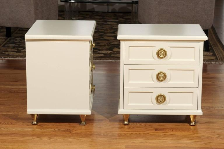 Mid-20th Century Chic Restored Pair of Small Chests in the Style of Renzo Rutili For Sale