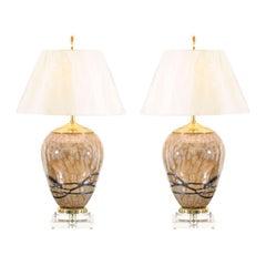 Extraordinary Pair of Polish Blown Glass Vessels as Custom Lamps