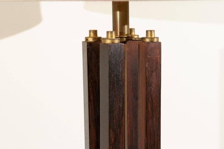 Dramatic Pair of Large-Scale Walnut and Brass Lamps by Laurel, circa 1970 In Excellent Condition For Sale In Atlanta, GA