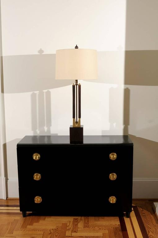 Mid-Century Modern Dramatic Pair of Large-Scale Walnut and Brass Lamps by Laurel, circa 1970 For Sale