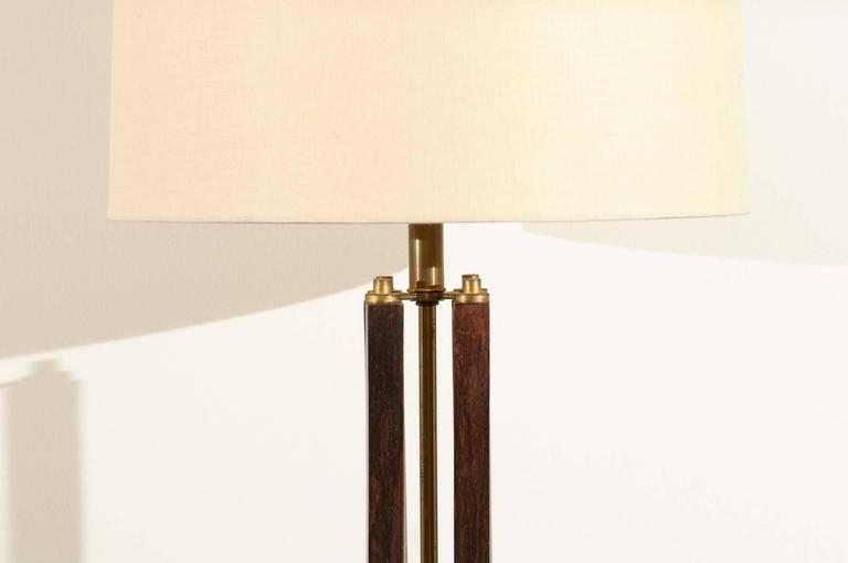 Late 20th Century Dramatic Pair of Large-Scale Walnut and Brass Lamps by Laurel, circa 1970 For Sale