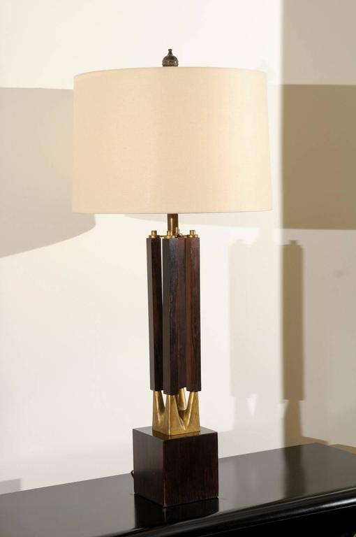 Dramatic Pair of Large-Scale Walnut and Brass Lamps by Laurel, circa 1970 For Sale 2