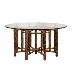 Elegant Circular Dining or Center Table by McGuire