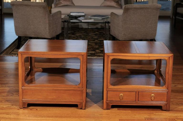 American Beautiful Restored Pair of Walnut End Tables by Michael Taylor for Baker For Sale