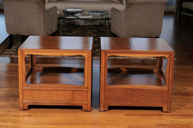 Beautiful Restored Pair of Walnut End Tables by Michael Taylor for Baker For Sale 2