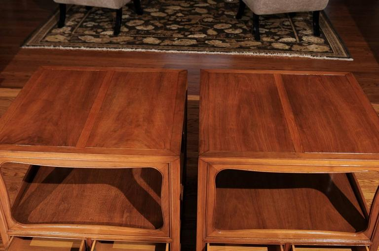 Beautiful Restored Pair of Walnut End Tables by Michael Taylor for Baker For Sale 3