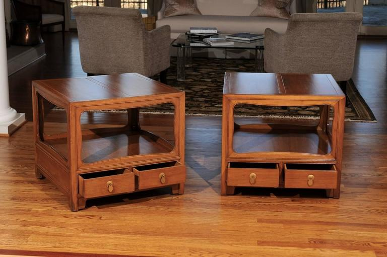 Beautiful Restored Pair of Walnut End Tables by Michael Taylor for Baker For Sale 4