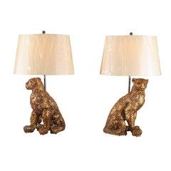 Astonishing Pair of Welded Steel Panthers as Custom Lamps
