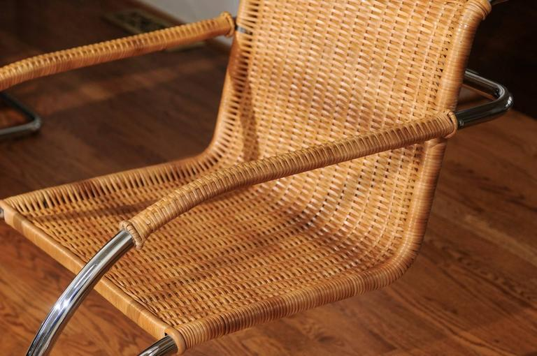 Late 20th Century Pristine Set of Eight Italian Wicker Chairs in the Style of Mies van der Rohe For Sale